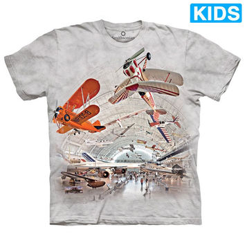 BOEING AVIATION HANGAR Kids T-Shirt Airplane Plane Flight Mountain Boy Girl NEW!