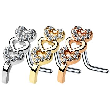 BodyJ4You 3PC Nose Ring L-Shape Bend Stud 16G CZ Surgical Steel Nostril Screw Women Piercing Jewelry
