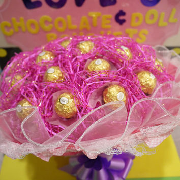 Pink Ferrero Rocher Chocolate Bouquet. Birthday gift that she will love!!