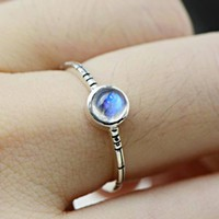 Sterling Silver Blue Moonstone Ring