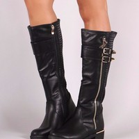 Buckled Stitchwork Zipper Trim Riding Knee High Boots