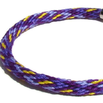 Unisex purple geometric pattern kumihimo bracelet with stainless steel magnetic clasp