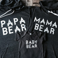 Mama Bear, Mama Bear Hoodie, Papa Bear Bear Hoodie , Baby Bear Onesuit, Baby Bear Shirt. New Mom, New Mom Gift, Family Shirts, Made by Thinke