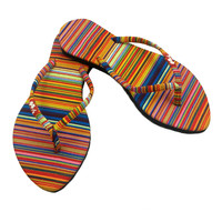 Fashion Flip Flops for Women, Kawaii Sandals for Women, Rainbow Striped Slim Flat Flops Shoes