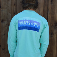 Waters Bluff Waves Long Sleeve Tee- Mint