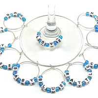 Baby Boy Wine Charms- 10 Baby Blocks Wine Glass Accessories with Light Blue Beads and Blocks for Baby Shower, Gender Reveal Party