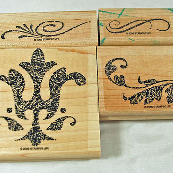 """STAMPIN UP Stamp Set - Rubber Stamps - """"Finest Flourishes""""  2006 Retired Set - Scrapbooking, Cardmaking, Crafts, Stamping, Scrapping"""