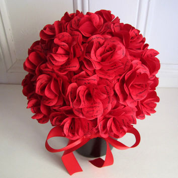 Red Rose Centerpiece- Personalized Red Paper Roses for Weddings, Birthdays, Showers, Housewarming Gift, or any Special Occasion.