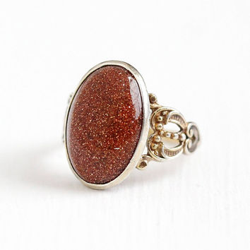 Vintage Gold Washed Sterling Silver Goldstone Cabochon Ring - 1930s Art Deco Size 6 Sparkly Brown Oval Glass Stone Statement Jewelry
