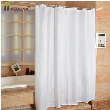 HAKOONA Polyester Cloth Bathroom White Shower Curtain With Metal Grommets Occlusion Window Hanging Drapes