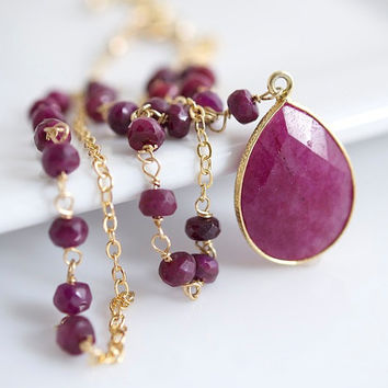 Garnet Necklace, Bezel Set Necklace