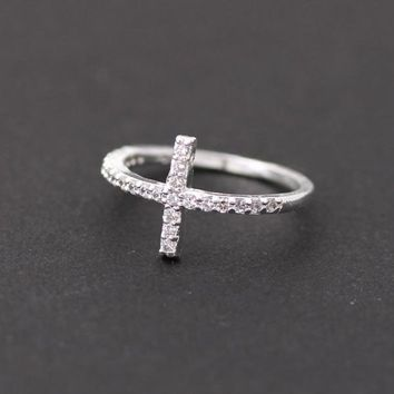 SIDEWAYS CROSS +RING in silver with swarovski crystals by bythecoco on Zibbet