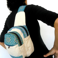 Sling Backpack crossbody bag Sling bag shoulder bag Messenger Bag Backpack Artistic bag Hippie Boho Hobo Bag Sling White Cream Color