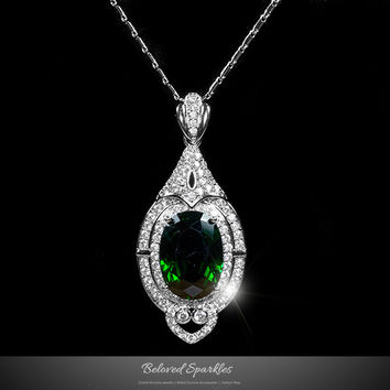 Adela Vintage Art Deco Emerald Green Pendant Necklace | 27 Carat | Cubic Zirconia