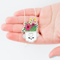 Flowers in The Teacup Necklace