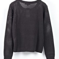 Black Round Neck Long Sleeve Hollow Cotton Sweater - Sheinside.com