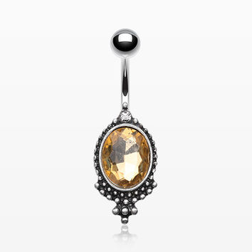 Antique Rustica Topaz Sparkle Belly Button Ring