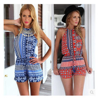 Summer Print Shorts Jumpsuit [4966231428]
