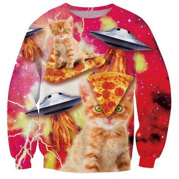 Bacon Pizza Space Cat All Over Print Sweatshirt Crewneck