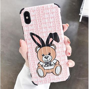 Moschino Fashion New Bear More Letter Print Women Men Phone Case Protective Cover Pink