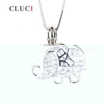 CLUCI Newest 925 sterling silver hollowed Elephant locket  cage pendant 3pcs necklace