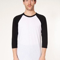 Poly-Cotton 3/4 Sleeve Raglan Shirt | Basic Tops | Men's Long Sleeves | American Apparel