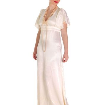 Vintage Backless Ivory Satin Gown Wedding Party 1970s Empire Waist S 32-27-34