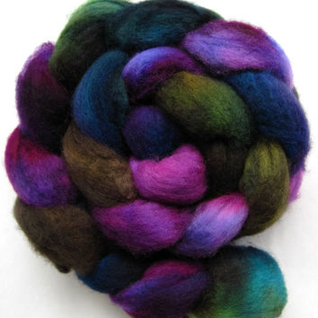 bfl wool roving, spinning fiber, spinning fibre, hand dyed roving, felting wool, hand painted roving, kettle dyed roving, combed top, 4 oz