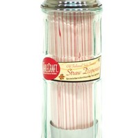 Tablecraft 11-in. Diner Collection Old Fashioned Straw Dispenser  W/Straws - Chrome Top