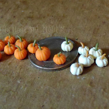 Micro Miniature Polymer Clay Pumpkins - Orange or White Your Choice
