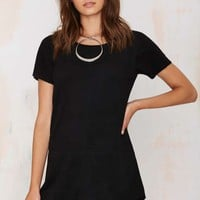 This Is the Girl Vegan Suede Tee Dress