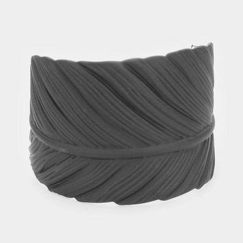 Dramatic Charcoal Matt Leaf Cuff Bracelet