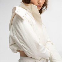 DKNY PURE HOODED CROPPED COAT
