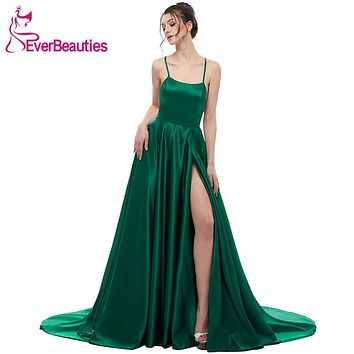 Green Evening Dress 2018 A Line Satin with Spaghetti Straps Long Prom Party Dress Side Split Abendkleider Evening Gowns