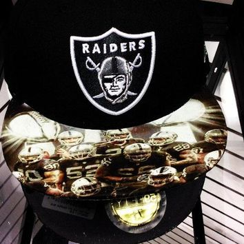 Oakland Raiders authentic New Era fitted or snapback hat with #raidernation custom