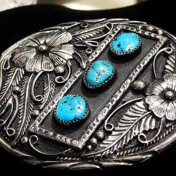 Vintage Turquoise Ladies Belt Buckle SSI Handcrafted USA Cowgirl Belt Buckle Southwestern Western Fashion Belt Buckle Unisex