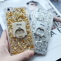 Gold Foil with Ring Case Cover for iPhone 7 7Plus & iPhone se 5s 6 6 Plus -0322
