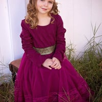Plum & Gold Long Sleeve Lace Layer Dress