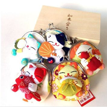 Maneki Neko Style Key Case Coin Bag Purse Wallet Random Color
