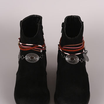 Qupid Suede Anklet Western Ankle Boots
