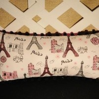 Memories of Paris Pillow in Pink Black and White | JRsPillowsandBags - Housewares on ArtFire