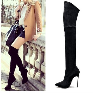2016 Autumn Winter Women Boots Stretch Faux Suede Slim Thigh High Boots Fashion Sexy O