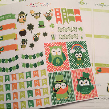 38 St Patrick's Day Owl Decorator Sticker Set! Perfect for your Erin Condren Life Planner, Calendar, or Scrapbook project!