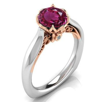 2 Tone Pink Sapphire Engagement Ring Milgrain Solitaire Ring 18K Solid Gold Contour Filigree Vintage Style