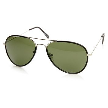 Classic Metal Two-Tone Pilot Teardrop Aviator Sunglasses