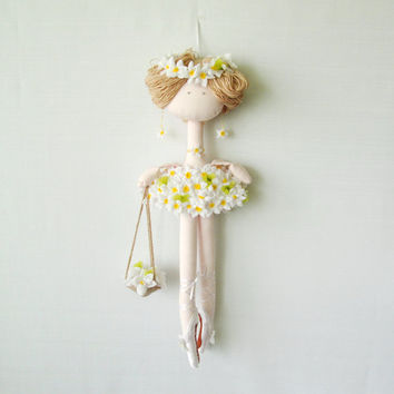 Ballet dancer doll Chamomile flowers Doll Handmade TIlda Doll Interior doll. Decorative doll.