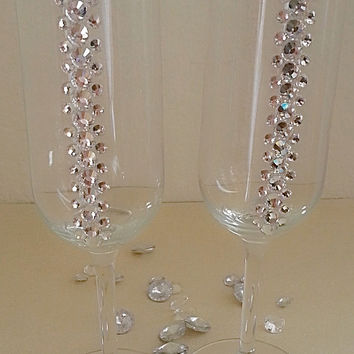 Wedding Toasting Flutes With Swarovski Crystals