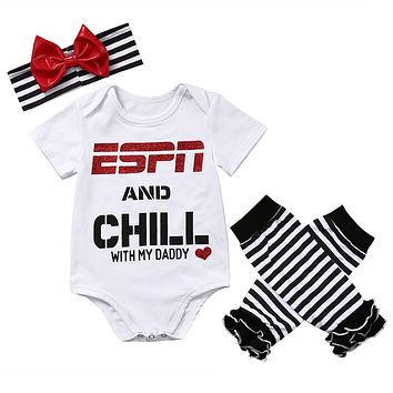 3PC ESPN and Chill with My Daddy Bodysuit Headband & Leggings