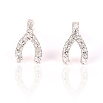 Adina Reyter Super Tiny Pave Wishbone Posts
