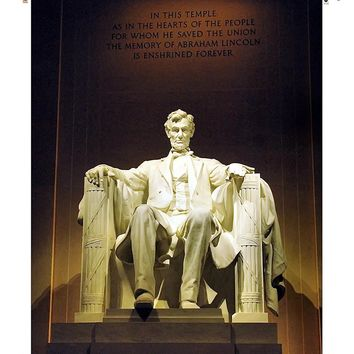 Abraham Lincoln Memorial Picture on Canvas Hung on Copper Rod, Ready to Hang, Wall Art Décor